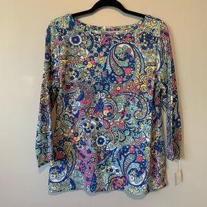 Women's new Talbots paisley patterned blouse